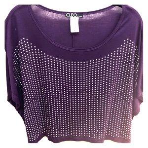 Purple Top With Silver Rhinestones